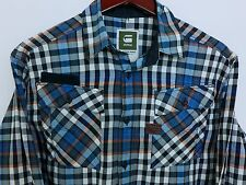 AA409 Men G-Star Raw Cargo Line Check Cotton Casual Shirt Size L