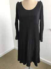 H&M Womens Sweater Dress Scoop Neck Ribbed Skirt Black Size Large Long Sleeve