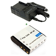 Lithium-Ion Battery Pack + Charger for NP-40 NP40 Casio Exilim EX-Z1000 EX-Z700