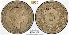 1883-B Switzerland 5 Rappen MS62 PCGS Looks Proof-Like - XBEH