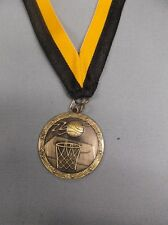 "lot of 8 gold ball and net Basketball 1 3/4"" dia medal black/gold neck drape"