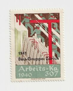 Switzerland- Arbeite-Kp.307,1940- poster stamp Mint hinged & some tearing of gum