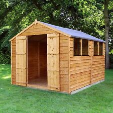 10x8 Wooden Overlap Garden Storage Shed Windows Double Door Apex Roof 10ft 8ft