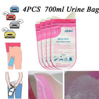 4X Pink Disposable 700CC Urine Storage Bag Emergency Toilet Travel For Unisex  Z