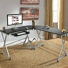 wood l shape corner computer desk laptop pc table workstation home office black