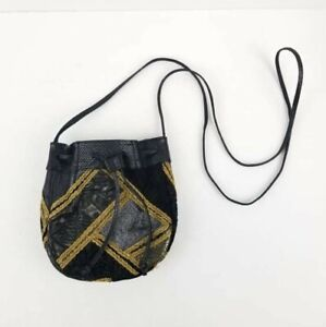 SAKS FIFTH AVE Women Black/Gold Cowhide Vinyl Small crossbady Bag Made in Italy