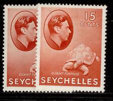 More details for seychelles gvi sg139a + 139ab, 15c shade varieties, m mint. cat £38.