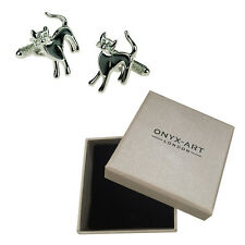 Mens Black Cat With Crystal Eye Cufflinks & Gift Box By Onyx Art