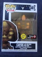 CAYDE-6 GOLDEN GUN GLOW GITD FUNKO POP VINYL New in Box + Gamestop Sticker