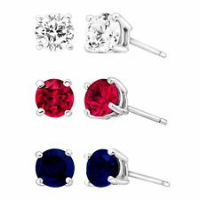 3 3/8 Ct Created Ruby Blue & White Sapphire Stud Earring Set in Sterling Silver