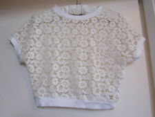 Hollister Oversize Cream Floral Lace Crop Top in Size XS / Size 8 - 10