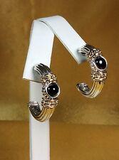 14K Yellow Gold/925 Fine Sterling Silver Onyx Gemstone Hoop Stud Earrings