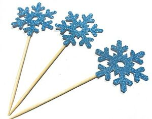 12 x Ice blue Snowflake christmas cupcake toppers. Merry Xmas cupcake toppers,