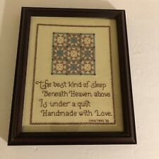 Hand Cross-Stitched Framed Handmade Quilt, Christmas 2000