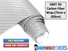 Carbon Fibre 3D Vinyl Wrap Film GREY Stylish NEW Bubble AIR Free  75cm x 200cm