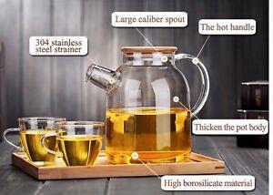 Glass Teapot Heat Resistant Tea Kettle Kombucha 80oz Bamboo Lid