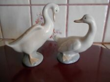 Nao by Lladro Long Neck Duck Swans #555 & #565 Glazed Fine Porcelain Figurines