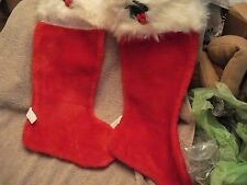 "Vtg 2- Plush Red 18"" Christmas Stockings W Fake Fur Trim & Holly Midwestern Mint"