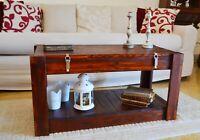 Tavolino da salotto caffè in legno massello Tavolo Basso con Contenitore Noce