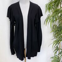 August Silk Womens Size Small Black Ruffle Shoulder Cardigan Sweater NEW $70