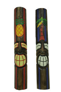 Zeckos Hand Painted Carved Wood 2 Piece Tropical Tiki Mask Wall Hanging Set