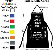Apron full length black customised with printing of your text and or photo on it