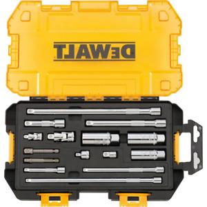 Dewalt Drive Tool Accessory Set 1/4 in. 3/8 in. Storage Case Clear Lid 15-Piece