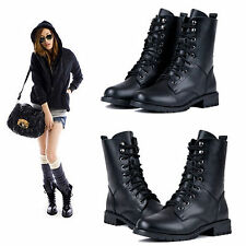 Women Leather Knight Ankle Flat Martin Boots Military Biker Lace-Up Combat Shoes