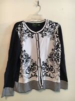 Nicaya Navy Cream Floral 2 Piece Cardigan Camisole Women Sweater Top Size XL