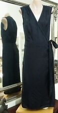 Melanie Cutfield Wrap Dress. Sz10. High sheen cupro with stitch detail. Vgc