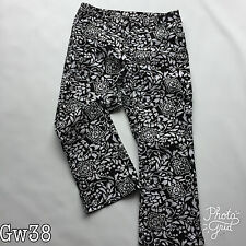 Womens Ralph Lauren Flared 3/4 Length White Floral on Black Trousers Size 8 (12)
