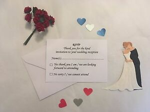 10 x A7 Wedding / Reception RSVP Cards and Envelopes inc Dietary Requirements