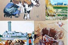 carte postale agriculture bretonne illustrateur art peinture Meheut Lot de 4