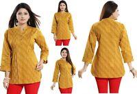 Women Indian Short Cotton Ethnic Kurti Tunic Printed Shirt Dress NK12 MUSTARD