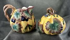 Fitz & Floyd Autumn Harvest Table Sugar & Creamer Set 1993 Pumpkin Fall Leaves