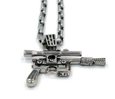 "NEW Star Wars Han Solo Silver Blaster Men's Pendant 30"" Necklace by Han Cholo"