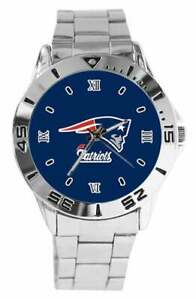 NEW ENGLAND PATRIOTS NFL Team Logo Stainless Steel Link Silver Analog Watch