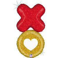 "Betallic Xo Love And Kiss Glitter Holographic Balloon- 36"""