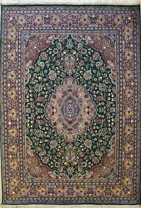 Rugstc 6x9 Senneh Pak Persian Green  Rug, Hand-Knotted,Traditional,Silk/Wool