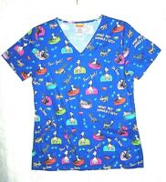 Dr. Seuss What Pet Should I Get? Blue Paw-fect Women's Medical Scrub Top XS