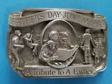 """Vintage 1988 Father's Day June 19 """"A Tribute To A Father"""" Belt Buckle Lt Ed"""