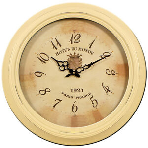 Metal Wall Clock Cream Round 47cm