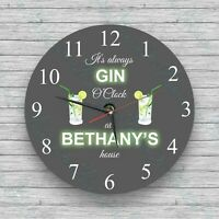 Personalised wall clock  Gin O'Clock Glass Wall Clock - Birthday, Christmas
