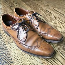 Allen Edmonds LARCHMONT Wingtip Blucher Brown Leather Oxford Men Dress Shoe 11D