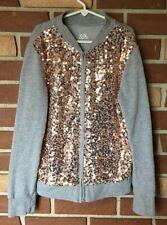 Justice Girls 12 14 Gray Gold Sequin Zip Up Sweatshirt Cardigan Long Sleeved