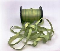 "Hand Dyed Pure Silk Embroidery Ribbon Spring Green 7mm 1/4"" wide  -by the yard"