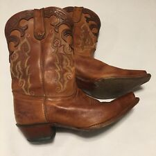 Tony Lama Womens Western Boots 9 B Distressed Leather Brown Ornate Stitching