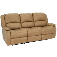 "RecPro Charles 80"" Triple RV Zero Wall Recliner Sofa With Drop Console Toffee"
