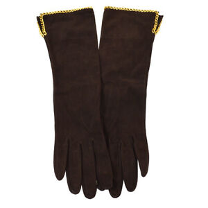 CHANEL CC Logo Chain Charm Gloves Dark Brown Velour France Vintage #7 02783