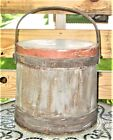 Antique Primitive Sugar Firkin w Lid 12  with Swing Handle 4 Tone Great Patina